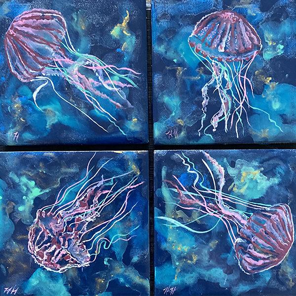 Jellyville coaster set by Heather Hodgeman